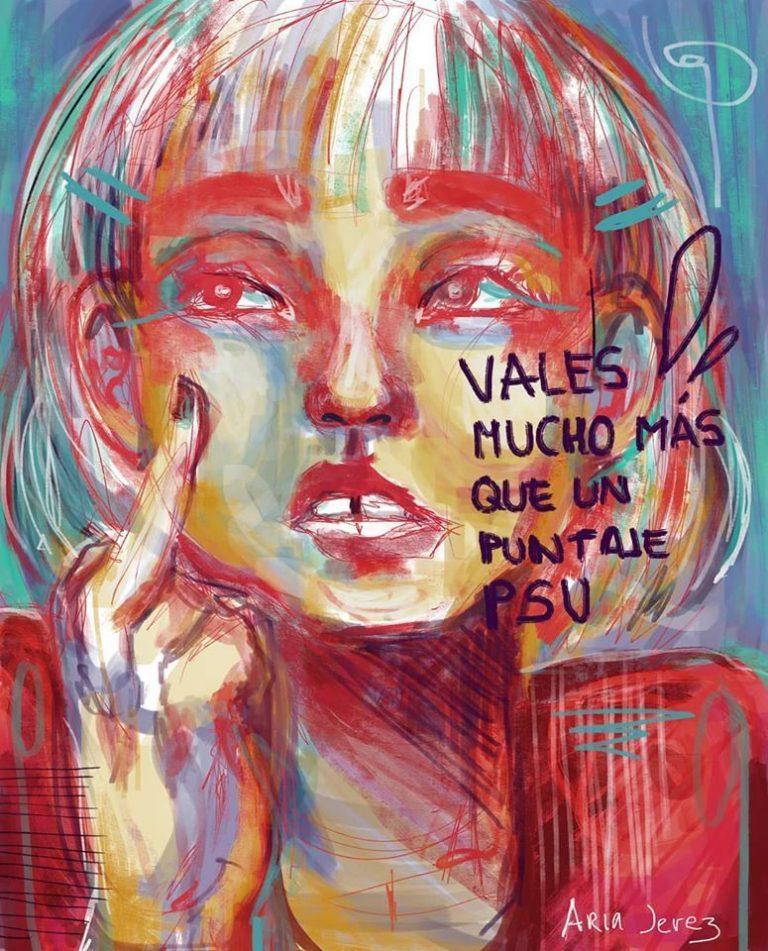 Poema de Constanza Paz Fernández e ilustración de Aria Jerez para la PSU