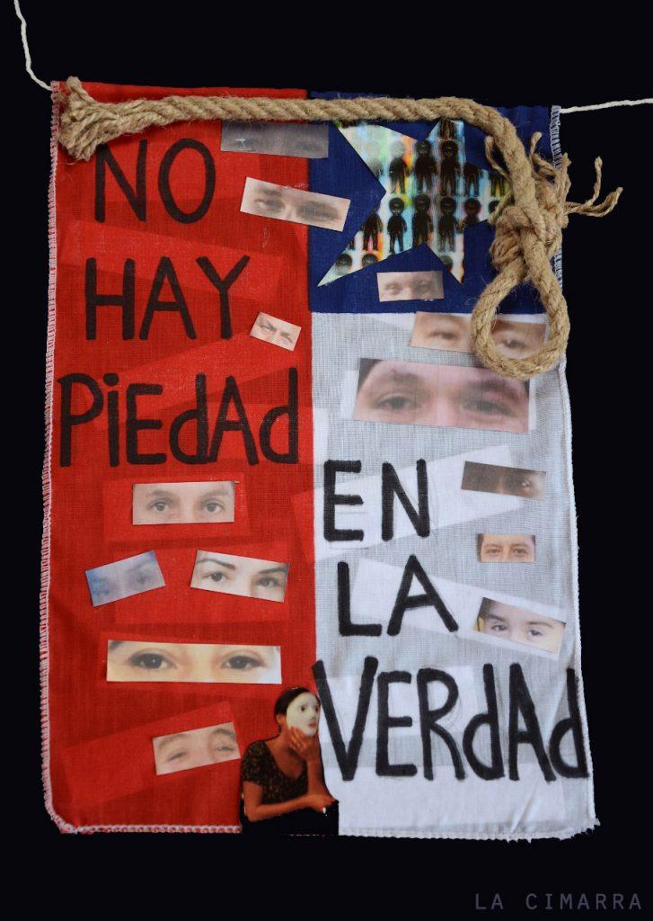 Intervención de Banderas Chilenas, Ingrid Yametti, poeta y performer Chilena