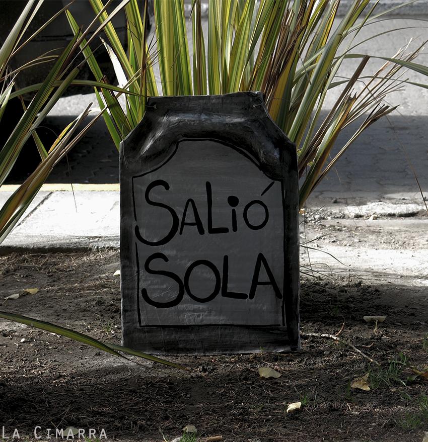 performance de catacumbas por el femicidio en pueblo de Calafate, Argentina