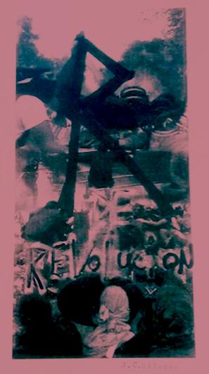 Fotografía y xilografía por Jesus de Cain de su Fanzine R de revolución, representando a capucha en revuelta de Chile Despertó