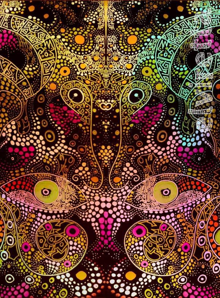 Trabajo de pintura psicodélica por Elvira Martinez en contexto cannabis