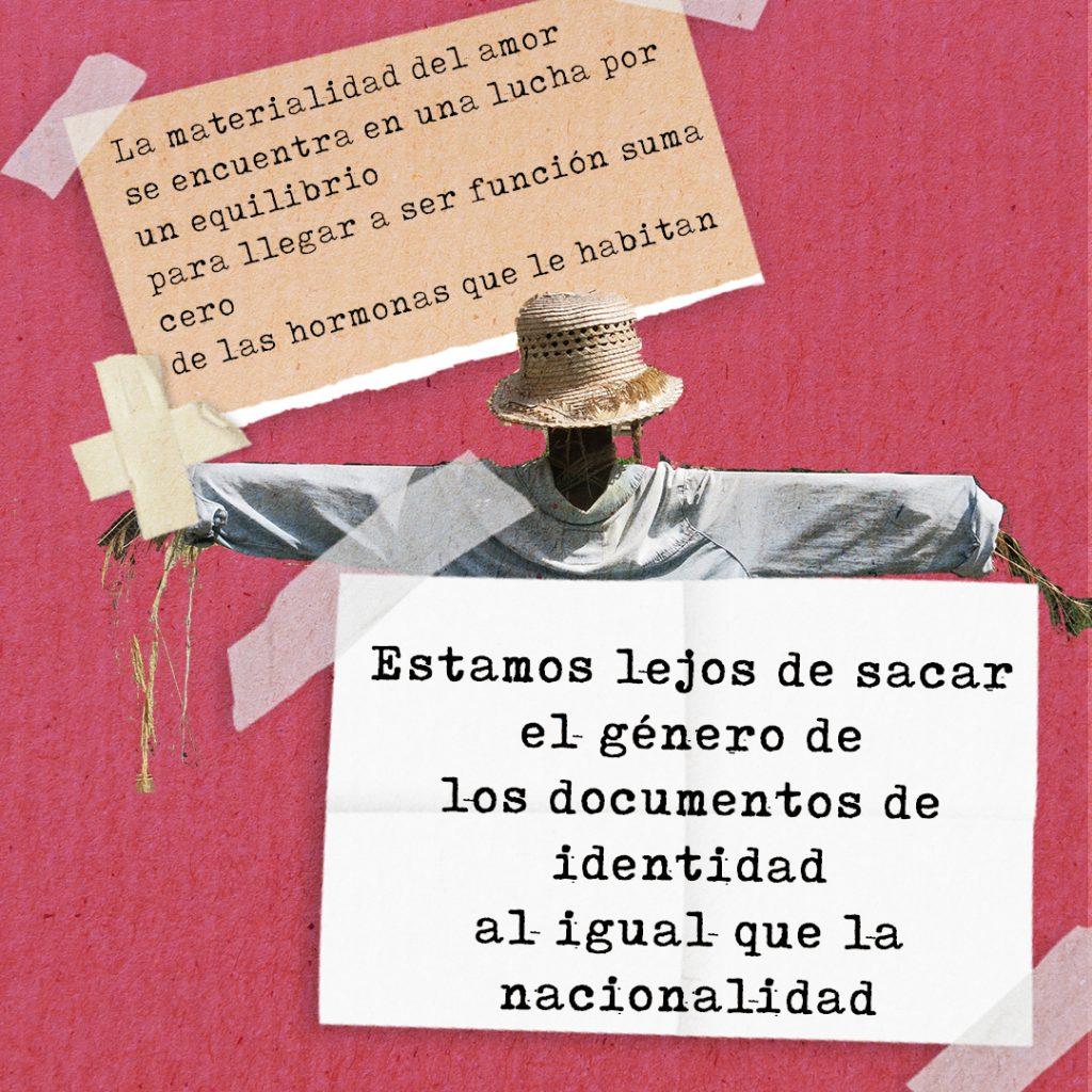 Collage sobre el amor, con extractos de poema de Cata Amaire