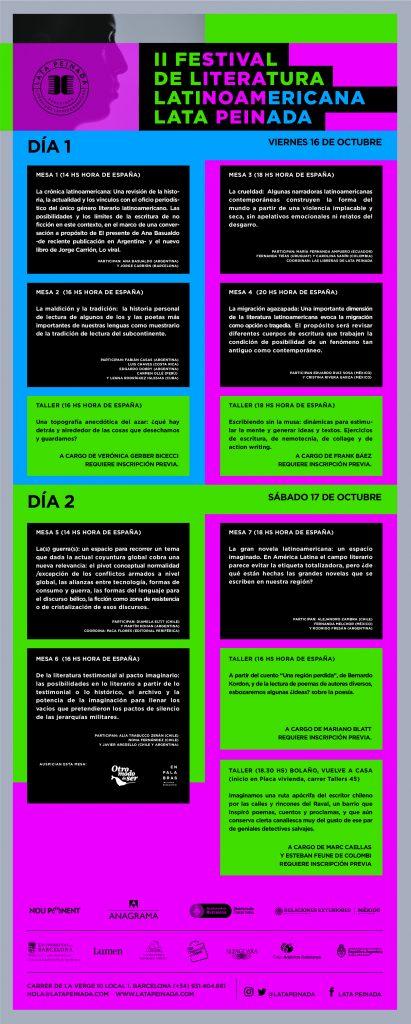 PROGRAMACIÓN II FESTIVAL DE LITERATURA LATINOAMERICANA LATA PEINADA