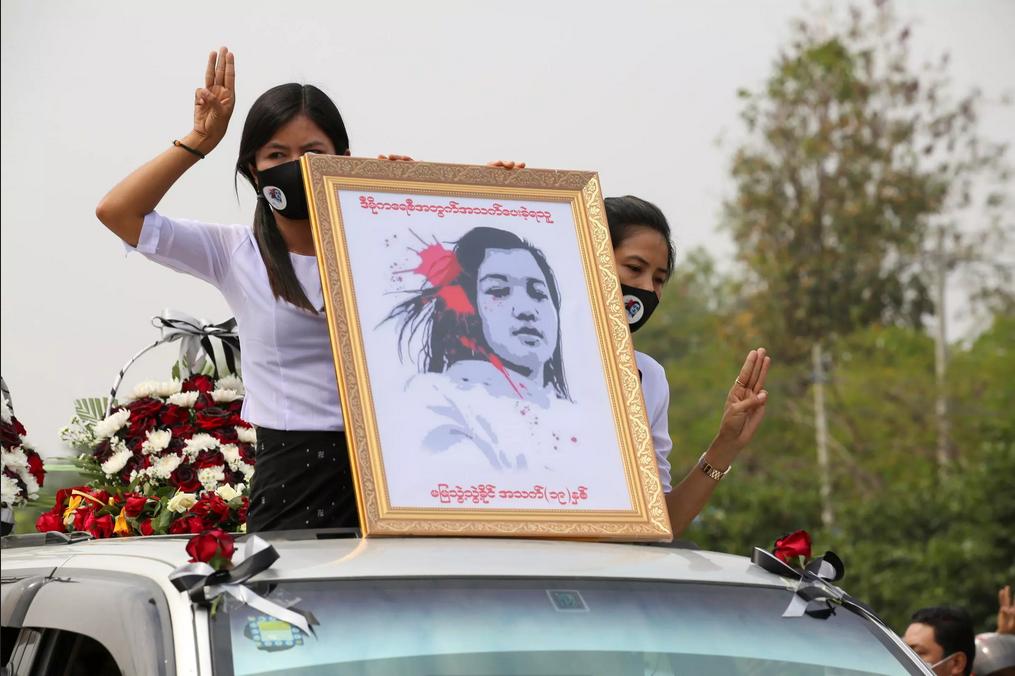 despedida de Mya Thwate Khaing, asesinada por militares en Mynmar